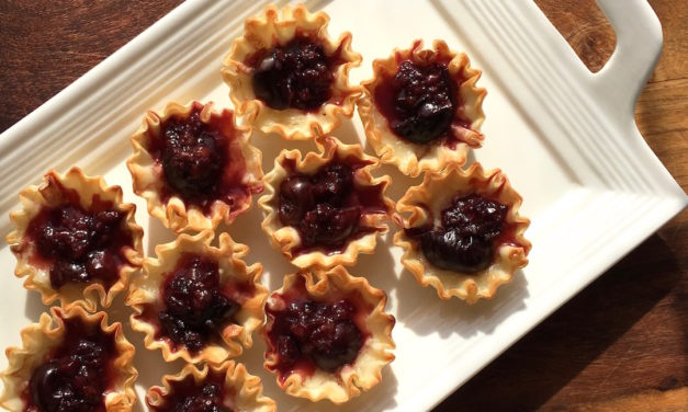 Easy Brie and Dark Cherry Phyllo Bites Appetizer