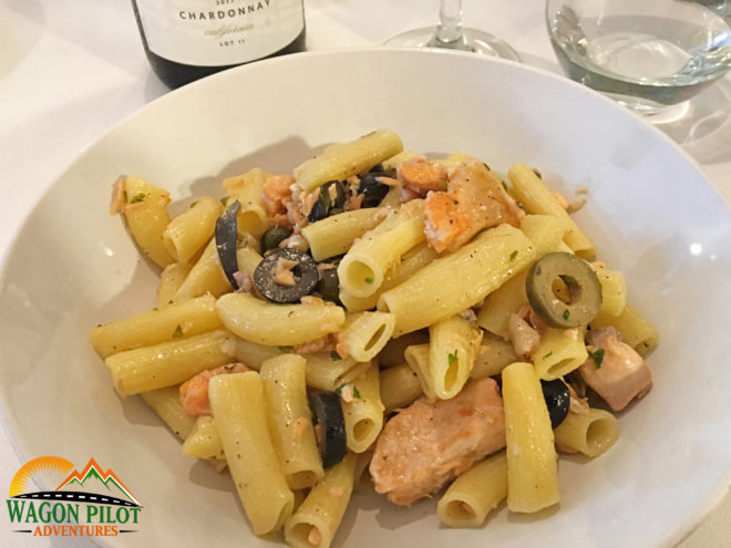 Pasta with salmon, olives, and capers at Catello's Mozzarella Bar © Wagon Pilot Adventures