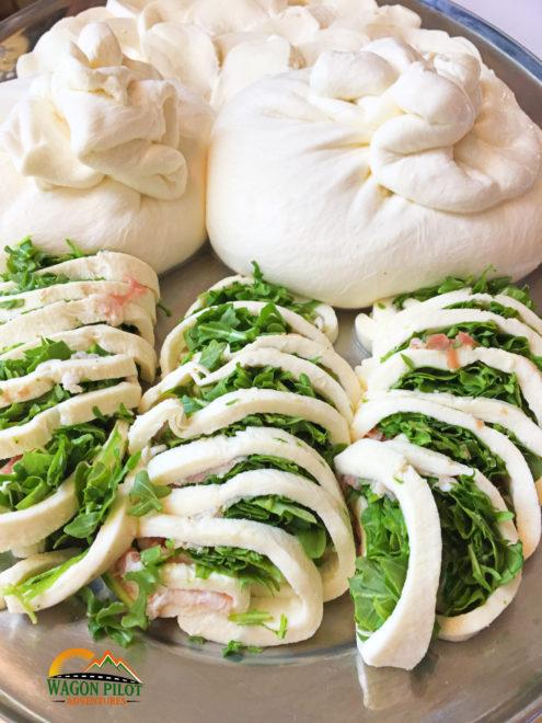 Burrata and stuffed mozzarella at Catello's Mozzarella Bar © Wagon Pilot Adventures