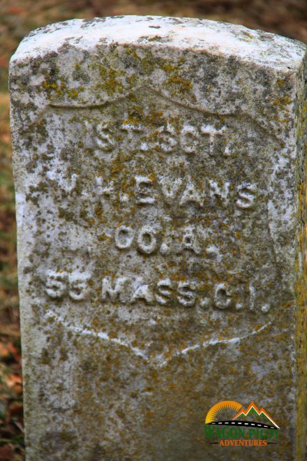 Grave marker of William H Evans Fountain City, Indiana © Wagon Pilot Adventures