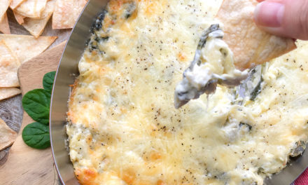 Warm Spinach Artichoke Dip with Toasted Corn Tortilla Chips