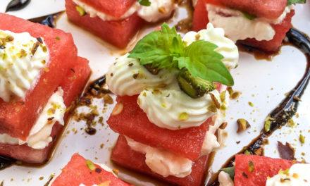 Watermelon, Whipped Feta, and Basil Bites