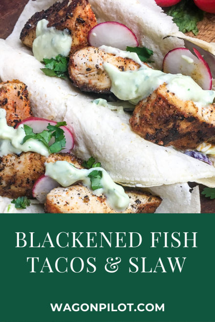 Blackened fish tacos with creamy cole slaw
