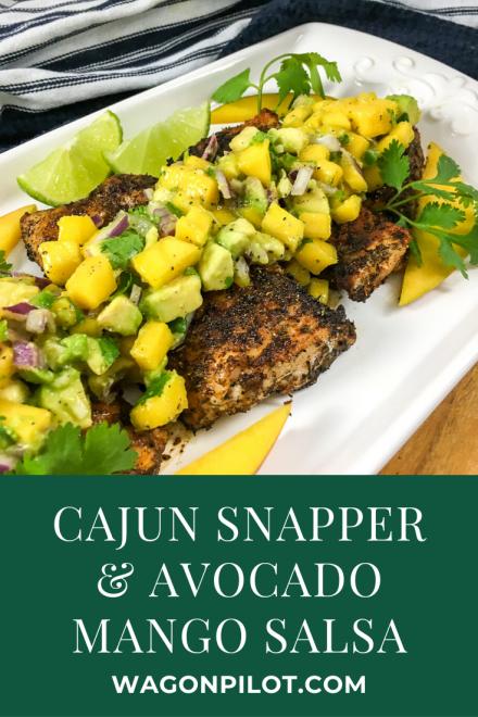 Cajun snapper with avocado mango salsa