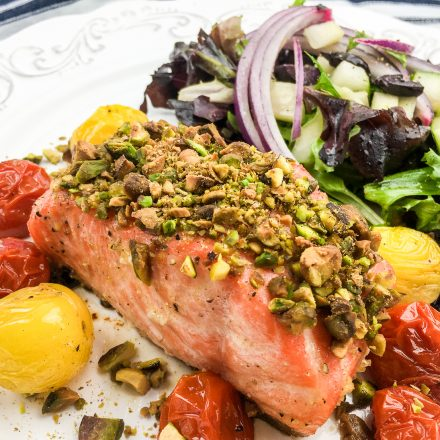 Pistachio crusted salmon with roasted cherry tomatoes