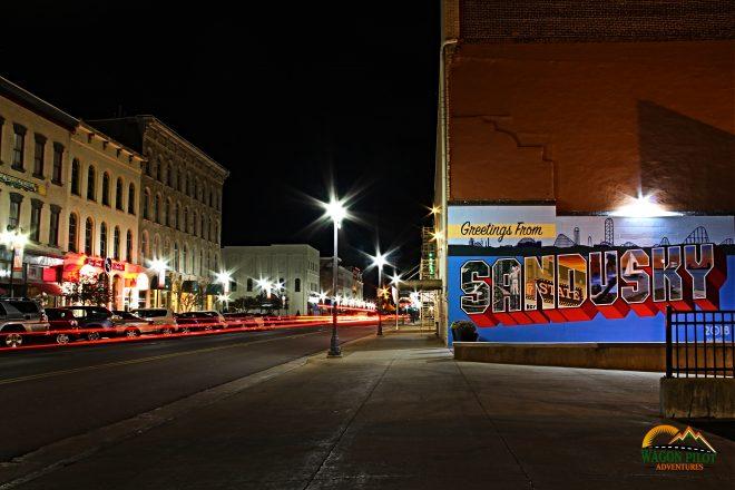 Sandusky, Ohio Mural at night © Wagon Pilot Adventures