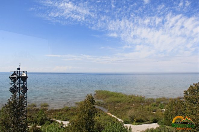 View from the top of Grand Traverse Lighthouse on Lake Michigan © Wagon Pilot Adventures