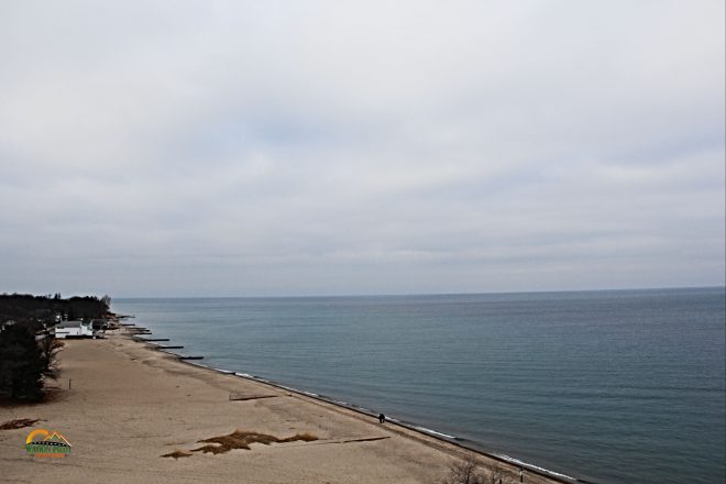 View of Lake Huron shore from top of Fort Gratiot Lighthouse © Wagon Pilot Adventures